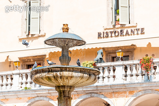 Historic town village called Assisi in Umbria Italy during sunny summer day with street water fountain and many pigeon birds with background of restaurant sign