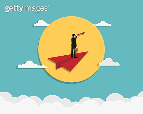 Businessman hold telescope stand on red paper plane
