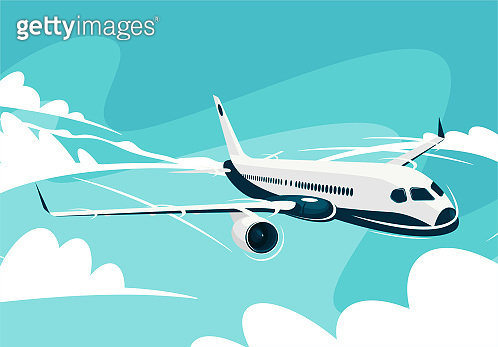 vector illustration of a civil aircraft flying in the clouds