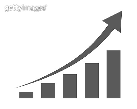 Growing bar graph icon. Vector illustration.