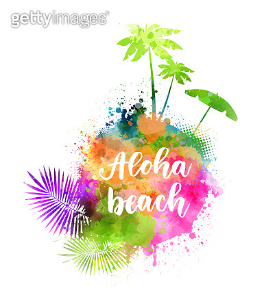 Aloha beach - travel background with silhouettes