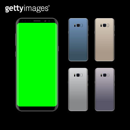 Smartphone design concept with different colors. Realistic vector illustration. Black smart phone front and back view
