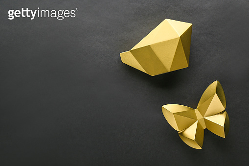 Golden decorations on black background