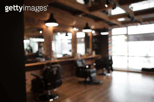 Blurred view of stylish hairdressing salon