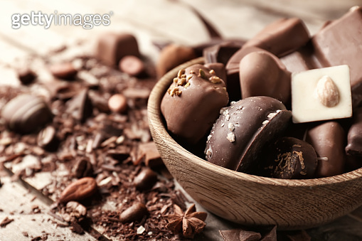 Bowl with yummy chocolate candies on wooden table