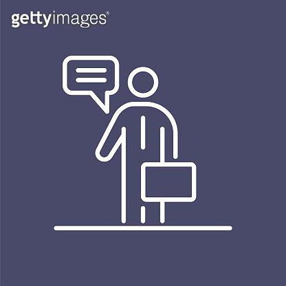 Business man speaking people icon simple line flat illustration