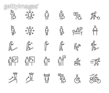Business people 30  icons set simple line flat illustration