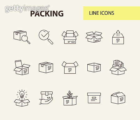 Packing line icon set