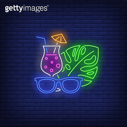 Sunglasses, cocktail and tropical plant leaf neon sign