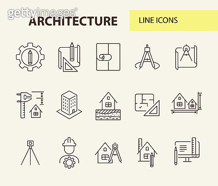 Architecture line icon set. Pencil, ruler, floor plan