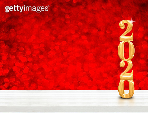 2020 happy new year wood (3d rendering) on white wood table with sparkling gold bokeh wall,leave space for display or montage of design or content