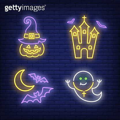Castle, pumpkin in hat, ghost and bat neon signs set