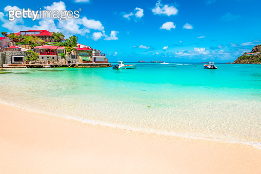 Beach in St Barts, Caribbean Sea.