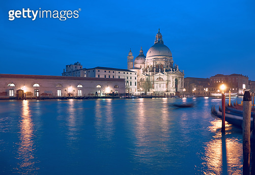 Illuminated church Santa Maria della Salute in Venice, Italy