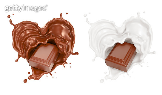 chocolate pieces falling on chocolate sauce and Milk cream splash in Heart shape.