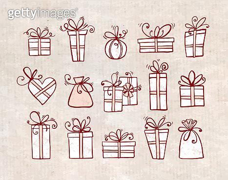 Doodle sketch gift boxes on vintage background.