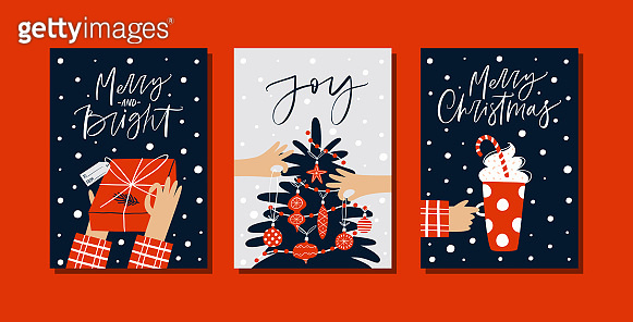 Christmas gift cards or tags with lettering and hand drawn design elements.