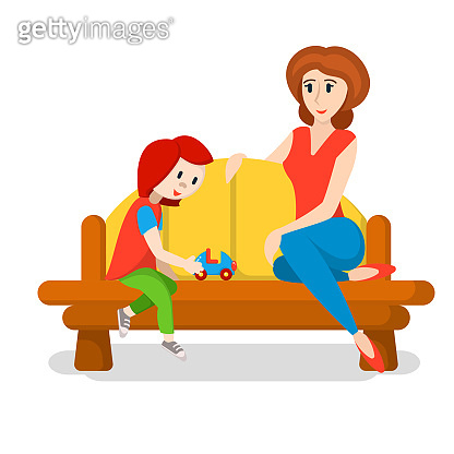 Mother and kid are sitting on the bench