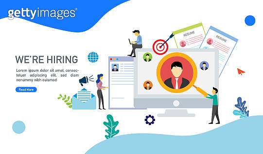 We are hiring and online recruitment concept with tiny people character suitable for landing page, template, mobile app, banner, template, vector illustration.