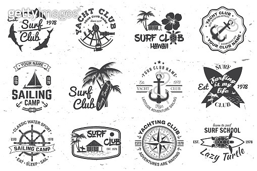 Set of sailing camp, yacht club and surf club badges. Vector. Concept for shirt, print, stamp. Vintage typography design with surfboard and sailing boat silhouette. Extreme water sport.