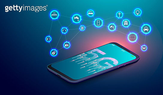 5G network on smartphone and IOT internet of things with flying Icons concept. vector