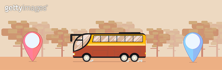 Safari bus with desert background in flat style with points or mark. Vector