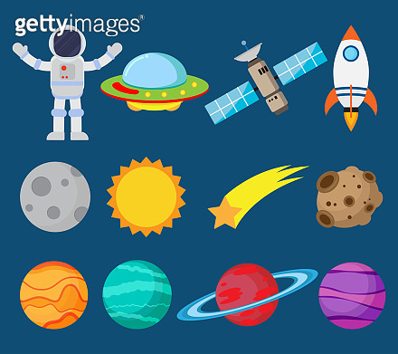 Collection of astronauts in space and planet vector set - Vector illustration