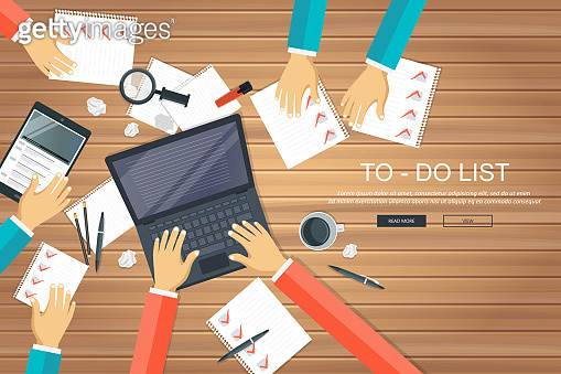 To do list concept. Office work desk with equipment and bunch of papers with red marks. Flat vector illustration
