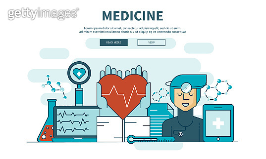 Flat design medical and pharmacy app. Health care concept. Modern template for mobile smart phone or responsive web site. Vector Illustration