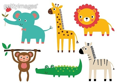Cute African baby animals, vector set