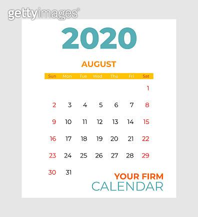 2020 august calendar vector template. Abstract empty isolated set 2020 calendar. Screen desktop months 2020 agenda
