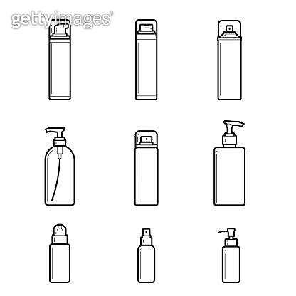 Dispensers, batchers. line drawing set of cosmetic bottles on white background.