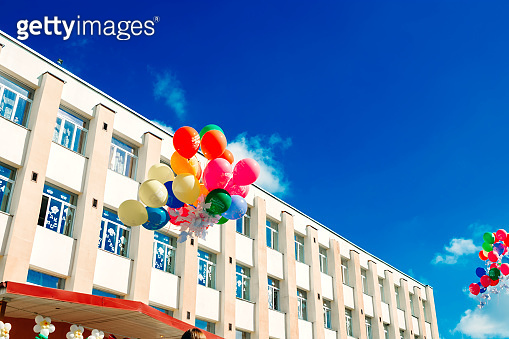 A group of multi-colored helium balloons soar into the sky