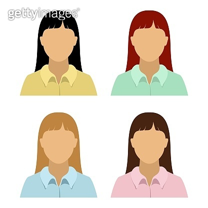 Asian woman in chemise. Set of abstract female avatars. Vector