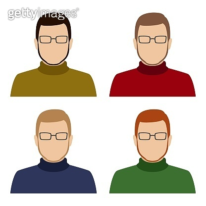 Bearded Caucasian man in turtleneck and glasses. Set of abstract male avatars. Vector