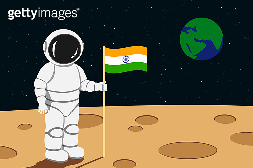 Indian astronaut lending on moon and hold flag of India in his hand. Vector illustration.
