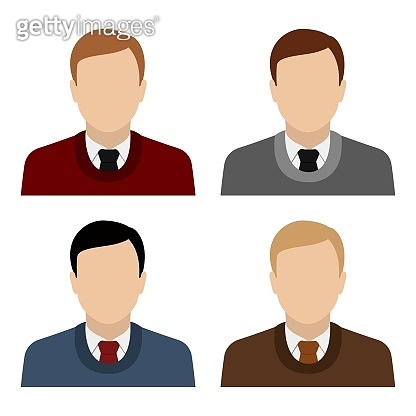 Caucasian man in sweater and necktie. Set of abstract male avatars. Vector