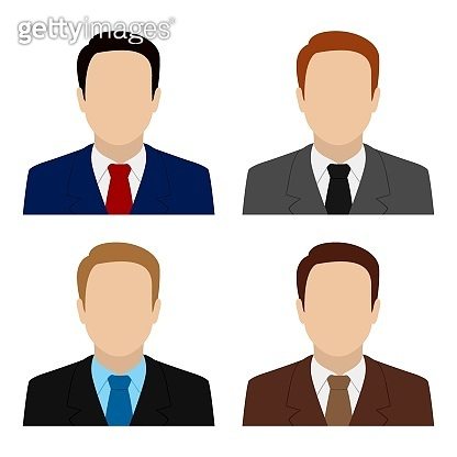 Caucasian man in suit and tie. Set of abstract male avatars. Vector