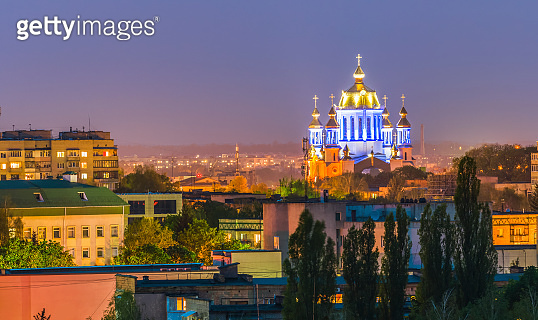 Night view of the Pokrovsky Cathedral of the city of Rivne, Ukraine - a beautiful pearl of temple architecture, which has become a real embodiment of the very essence of the Ukrainian soul.