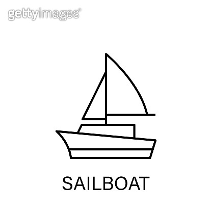 sailboat ship sea transport outline icon. Signs and symbols can be used for web, logo, mobile app, UI, UX