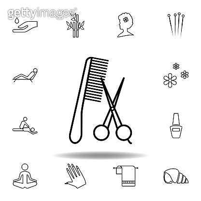 Hair cut tool outline icon. Detailed set of spa and relax illustrations icon. Can be used for web, logo, mobile app, UI, UX