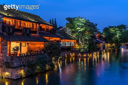 Night scene in Wuzhen, China