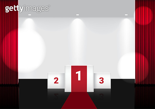 3D Mock up Realistic Open Red Curtain on Award Stage or Cinema for Show, Concert or Presentation with Spotlight background illustration vector