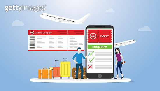 online book or booking tickets for airflight concept with smartphone app and some luggage with people order online ticket with modern flat style - vector
