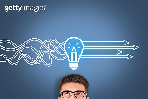 Creative idea solution concepts on visual screen