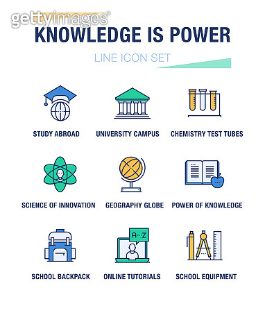 KNOWLEDGE IS POWER LINE ICON SET
