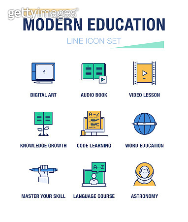 MODERN EDUCATION LINE ICON SET