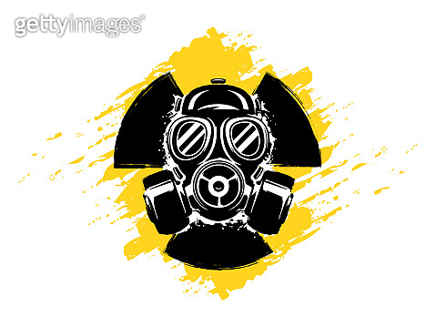 Sign of radioactivity with gas mask grunge vector illustration. Concept of pollution and danger. Radioactive sign. Radioactive hazard.