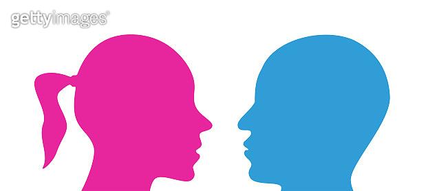 face silhouette profile man woman blue pink