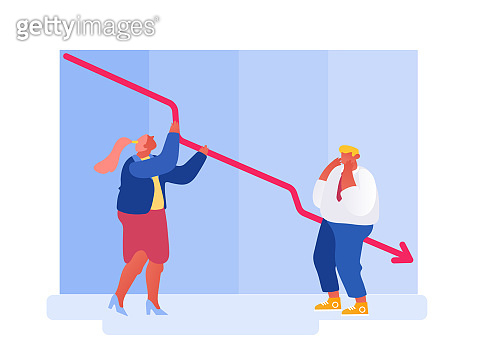 Trading Risks, Defaulted Economy, Corporate Sale Drop Concept. Investor Bankrupt Lost Money Investment during Business Finance Crisis. Failed Sales Management Strategy Cartoon Flat Vector Illustration